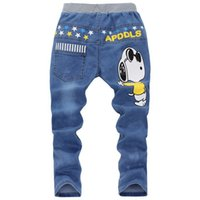 Wholesale 2016 New Boys Jeans Pants Baby girl Cartoon Jeans trousers Children Spring Casual Denim Pants Autumn kids Wear Clothes Years D227A