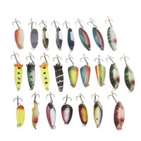 Cheap 24Pcs Fishing Lure Set Mixed Color Size Weight Hook  Metal Spoon Sea Hard Baits Pesca Tackle