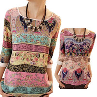 Wholesale All Different Patterns Lace Printing Three Quarter Puff Sleeves Round neck Loose Tops Summer Casual For Women Ladies Blouse HB88