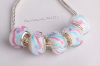 Wholesale New Silver Plated MURANO GLASS BEAD LAMPWORK fit European Charm Bracelet L
