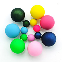 Wholesale Brand New Stud Earrings Fashion Seven Color Double Ball For Women Earrings Jewelry Drop Shipping EH3438