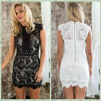 Wholesale 2015 Jewel Neck Sheath Mini White Black Lace Cap Sleeve Cocktail Party Prom Dresses Formal Vestido Sexy Short Bridesmaid Party Gowns