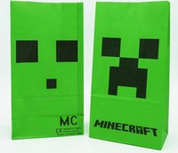 Cheap Hot Minecraft Popcorn Bag Creeper Party Bag Food Gift Bag Minecraft Party Material Party Decoration Paper Bag Free Shipping Factory Sales