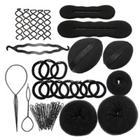 Wholesale 9 In Pro Hair Bun Clip Maker Pads Hairpins Roller Braid Twist Sponge Styling Accessories Tools Kit Set