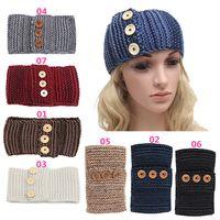 Wholesale Hot Sales Women Lady Headwear Hair Band Headband Turban Accessorie Acrylic Knitted Warmer Fashion Three Buttons EA9