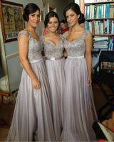 Wholesale Silver chiffon lace Custom made New Big Discount cap sleeve long Bridesmaid Dresses formal dresses with ribbon sop04