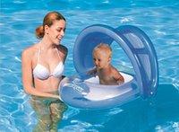 2015 Nueva Parasol anillo de la nadada de los niños del niño del bebé del asiento del flotador del barco inflable cinturón Agua Pool Fun Sun Protection Umbrella LJJH90 30PCS