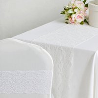 cotton table runner - 11 quot X108 quot White Lace Wedding Table Runners Fashion Wedding Banquet Table Cloths Chair Cover Sash Bows