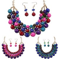 Wholesale 2015 New Women Boho Colorful Beads Choker Bib Statement Necklace Earrings Jewelry Set