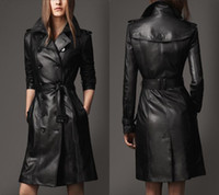 Wholesale New Lady Double Breasted Leather Trench with Belt Faux Leather Coat Woman Black Leather Long Coat Patchwork Full Sleeve Jackets