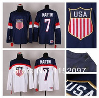 american olympic team - Cheap Team USA Sochi Paul Martin Jersey Blue White American Winter Olympic Hockey Jerseys Man Hot Sale Embroider