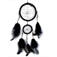 Wholesale Handmade Black Dream Catcher Circular Net With Feathers Wall Hanging Decoration Ornament FG1511