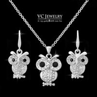 Wholesale Statement Necklace and Earring Set Lovely Owl Jewelry Set Silver Plated Inlaid CZ Stones Vs Vocheng Jewelry