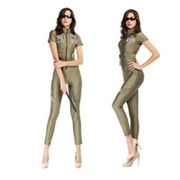 american apparel costumes - New Army Green American Soldiers Costumes Sexy Bodysuit Slim Pack Hip Role Play Shows Cub Cosplay Women Spy Captain Apparel M XL