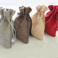 Wholesale cm Natural Color Jute Bag Drawstring burlap bags Gift Candy Beads Bags for Storage Wedding Decor