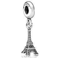 jewelry paris - New Sterling Silver Charm Paris Eiffel Tower Pendant European Charms Silver Beads For Snake Chain Bracelet DIY Jewelry