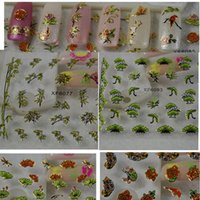 bamboo stencil - 50sheets d Glitter Flower Bird Bamboo Leaf Decals d Nail Art Tips Decorations Stickers Wraps Foils Stencil Tools XF6075
