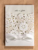 Wholesale Wedding Invitations High Quality Ivory Paper Blank Card Laser Cutting Wedding Invitation Flowers Hollow Wedding Cards IV05