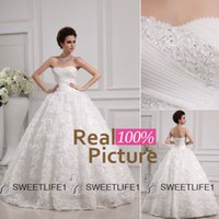 Wholesale Cheap Ball Gown Wedding Dresses IN STOCK Sweetheart Lace up Back Floor Length Garden Bridal Gown Crystal Beads Handmade Flowers W013