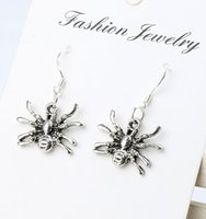 antique spider - MIC x29mm Antique Silver D Crawling Spider Charm Pendant Earrings Silver Fish Ear Hook Jewelry E037