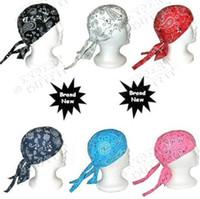 Wholesale Cotton Du rag Durag Headwraps Paisley Turban Chemo Hats skull bandit Cap mix colors