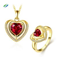 Cheap PS489-A Fashion Hot classic pop heart-shaped necklace ring Nickel and lead free mixed styles 18k gold plating jewelry set