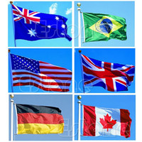 Wholesale Hot PC Indoor Outdoor x5 feet Country Flag Banner National Pennants USA Canada