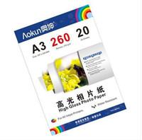 Impresoras de inyección de tinta gratis Baratos-Express Gratis en A3(420*297 mm) 260 g 20 Hojas de Papel Fotográfico de Alto Brillo, Papel Impermeable Papel Fotográfico de inyección de tinta, Para una variedad de impresoras de inyección de tinta