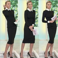 Wholesale New arrival Fashion Women Elegant Black Dress with white collar Casual Slim vintage OL career dress brand design quality