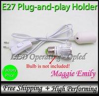 Wholesale SAVE Plug and play E27 holder for E27 socket E27 base bulb led light lamp switch to control E27 Power Cord Europe UK Russia Plug