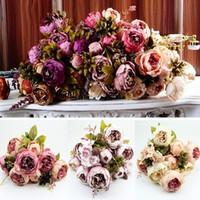 Wholesale 1 Bouquet Heads Vintage Artificial Peony Silk Flower Wedding Home Decor