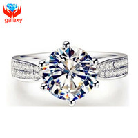 Wholesale Luxury ct Cubic Zirconia Engagement Ring Sterling Silver Fashion Jewelry CZ Diamond Wedding Rings for Women ZRY002