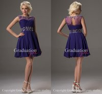 Wholesale 2016 Purple Graduation Dresses for th Grade A Line Sheer Scoop Sleeveless Crystals Beading Hollow Zipper Back Short Mini Prom Party Dresses