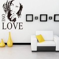 Wholesale BOB MARLEY GRAPHIC ONE LOVE Music Fan Wall Decal Stickers Room Mural Room Decor