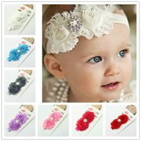 baby bans - Headbands For Girls Ribbon Hair Fabric Flower Handmade Girl Baby Toddler Elastic Headband Double Vintage Rose Rhinestone Wedding Hair Ban