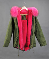 fur hooded jackets - Mr Mrs Furs Pink Real Raccoon Fur hood Lined with rabbit fur Ladies Jacket in Green