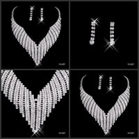 african types - Best selling Rhinestone Jewelry Necklace Earring Set Real Image Ear Stud type Lobster clasp Prom Wedding Bridal Earrings Necklace