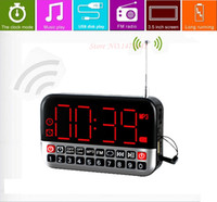 Wholesale Originality Multifunction FM Radio Alarm Clock USB Disk Player Speaker LED Screen With mm Phone Out Jack