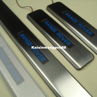 Wholesale LED Blue Illuminated DOOR SILL ENTRY GUARD Scuff PLATE For Land Rover Range Rover Free Gift two different gift