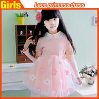Tutu vestidos para meninas Princesa vestidos de algodão de manga comprida Lace flor vestidos de princesa chiffon top flor rendas das crianças como presente de Natal