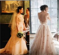 beautiful bridal dress - Blush Pink Wedding Dresses Backless Sweetheart Appliques Corset Waist Beautiful Bridal Dress Sweep Train Custom Made Wedding Gowns