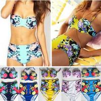 Wholesale 2015 New Fashion Printing Flower Bikini Set High Quality Push Up Swimwear Women Swimsuits For Summer Bathing Top Bottom