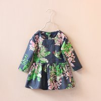 designer clothes - Factory Price spring girls dress new baby girl floral birds print long sleeve cotton dresses kids pleated child brand designer clothes