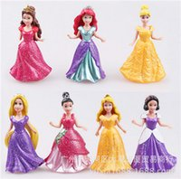 belle gifts - Original Disny Princess MagiClip Rapunzel Ariel Snow White Cinderella Belle Aurora Tiana kids girl Doll Fashion Figure Toy Gift doll