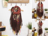 Wholesale Scarfs Women Fashion Cotton Linen Scarves Pashmina Ethnic Bohemnia Colorful Tassel Print Flower Scarf Drop Shipping FS013