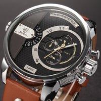 big clock hands - Luxury Box Shark Hands Relogio Stopwatch Genuine Leather Band White Yellow Wrist Big Dial Clock Men Quartz Sport Watch SH162 ZC156