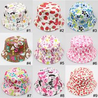 Cheap Free shipping 2015 Bucket sun hat for girls  kids baby summer hat 30 pattern canvas material Baby kids children's Caps hat boys grils hats