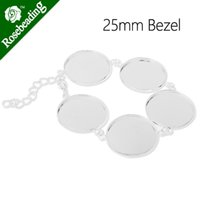 Wholesale Silver plated bracelet with mm inch bezels cabochon settings fit mm round glass cabochon sold C3714