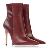 Ankle Boots Roman Boots Women Fashion Woman Ankle Boots Pointed Toe Brown Color Euramerican Style Short Boots Stretch Cowhide Stitching Women Boots Stiletto Heel 12cm