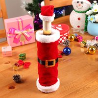 belt wine red - 2015 Santa Claus Clothing Hat Red Wine Soft Christmas Bottle Cover For Christmas Home Decoration Wine Bottle Sets With Belt JIA464